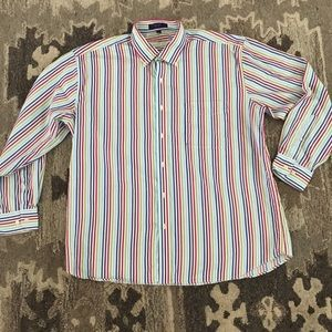 Men's striped button down shirt xl